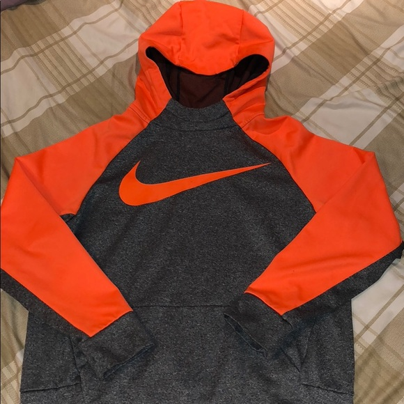 half off sneakers for cheap new images of Heather gray and neon orange Nike boys XL hoodie